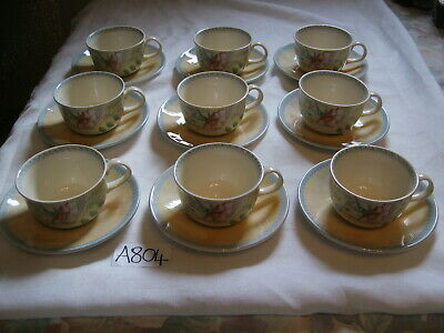 BOOTS COUNTRY COTTAGE ROYAL STAFFORD CUPS & SAUCERS X 9 In Perfect Condition • 24.99£
