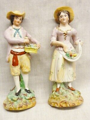 Lovely Pair Of Staffordshire Figures Colourful 1880s Shepherd/ess Flower Sellers • 9.99£
