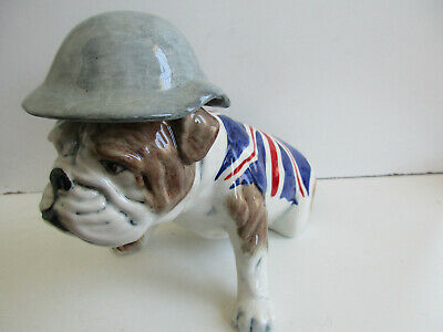 Carlton Ware Large British  Bulldog With Union Jack And Wearing Wartime Helmet • 58£
