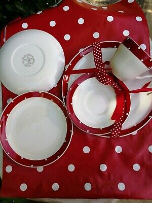 Vintage Lord Nelson Pottery Polka Dot Cup Saucer Plates Red/white • 22£