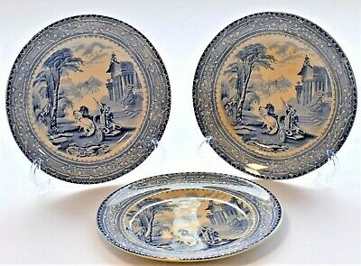 Antique Arcadian Chariots Blue And White Plate Set Of 3 (19cm Diameter)  C.1900 • 37.10£