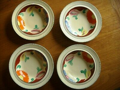 Four  Art Deco   Era Ware   Hand Painted Pudding Bowls --bright Floral Pattern  • 3.99£