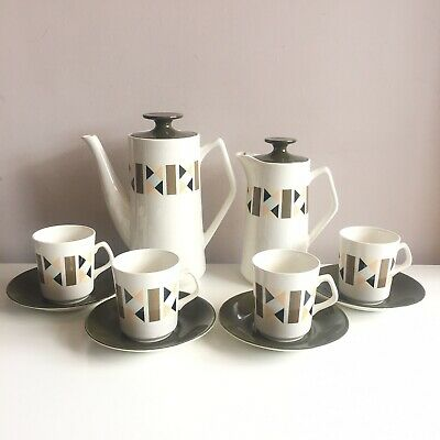 Vintage Beswick Coffee Set Geometric Green Retro MADE IN ENGLAND Set Dressing • 54.99£