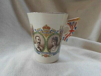 Burleigh Ware Mug 1935 Jubilee King George V Flag Handle Empire Sun Never Set • 12.99£