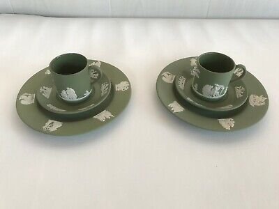 2 Green Wedgwood Jasperware Coffee Can Trio's  In Excellent Condition . • 46£