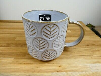 Gorgeous Dartington Stoneware Mug, NEW, Grey, Leaf Design. • 19.99£