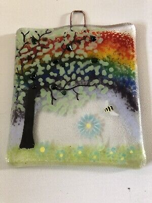 Rainbow Bee Countryside Fused Glass Wall Hanging / Suncatcher • 12£