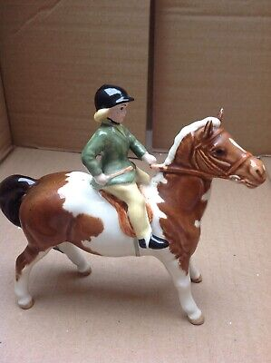 Vintage Model Of A Beswick Skewbald Pony And Girl Rider • 108£