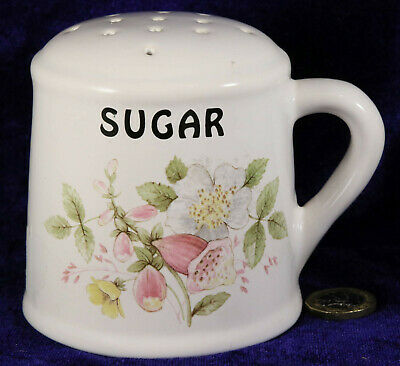 Brixham Pottery Sugar Shaker With Stopper Foxglove Floral Pattern Collectable  • 3£