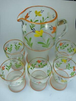Vintage Glass Lemonade Set- Jug + 5 Glasses- Orange & Yellow Flowers • 9.99£
