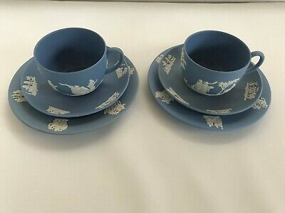 2 Blue Wedgwood Jasperware Tea Cup/Saucer/ Side Plate   In Excellent Condition . • 46£