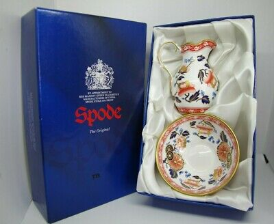 Spode Creamer And Sugar Porcelain Bowl Set In The Ming  F1905-AO Pattern • 3£