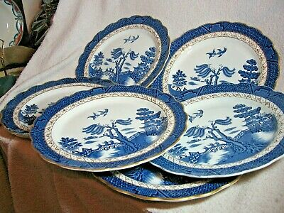 Set Of 6  Booths Real Old Willow Dinner Plates - A8025 - Gold Gilding - 10 1/2   • 40£