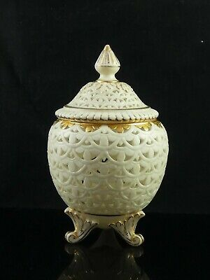 Lovely Antique Grainger & Co Worcester Reticulated Vase & Cover Pierced C.1894 • 94.95£