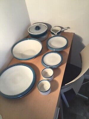 Wedgewood Blue Pacific 4 Dinner Plates 4side Plates 4 Bowls, Large Serving Bowl, • 25£