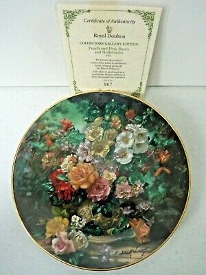 Royal Doulton Peach & Pink Roses & Hollyhocks Plate Certificate Of Authenticity • 18.99£