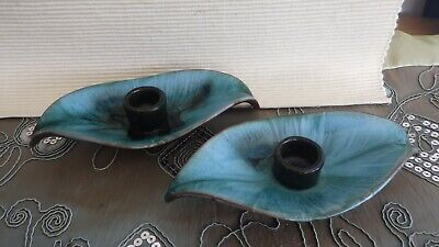 Blue Mountain Pottery Ltd -canada -1 Pair Of Leaf Candle Holders • 10£