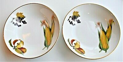 Royal Worcester Evesham Gold Set Of 2 Cereal Oatmeal Soup Bowl Corn Apricot • 19.20£