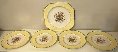 Vintage Johnson Bros Art Deco Style Pareek Cake Plate And Four Side Plates A/F • 4.99£