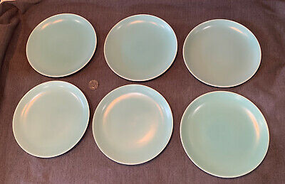 6 Vintage Poole Pottery Side Cake Plates Twintone Ice Green 18cm China Retro • 12.95£