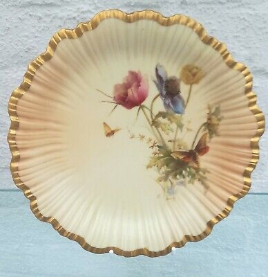 Vintage Signed Raby Royal Worcester Blush Butterfly Cabinet Plate • 35£