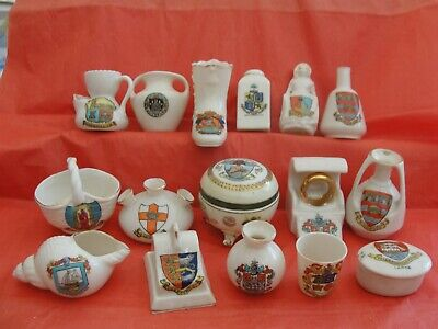 Vintage Assorted Crested Ware X 16 Pieces. Has Wear But No Damage, Most Named • 6.90£