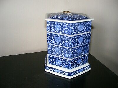 Chinese Ceramic Porcelain 4 Compartments Box - Characters Marks On Base • 4.99£
