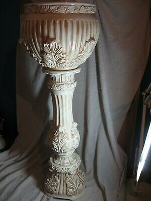 Vintage  Plant  Jardiniere & Stand , Italian ACANTHUS LEAF DESIGN  ABOUT 31 TALL • 60£