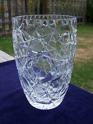 Stunning 'Royal Brierely' Heavy Lead Crystal Vase 1.8 Kg 8  Tall **Signed**  • 9.99£