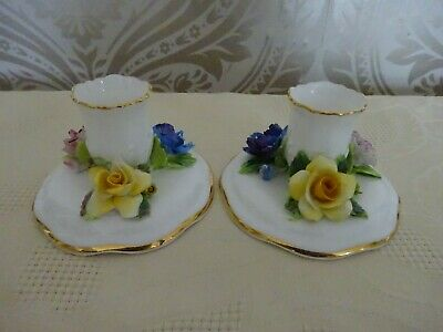 Crown Staffordshire Pottery Pair Of Candlesticks Floral • 9.99£
