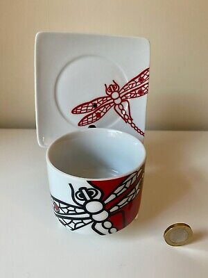 Vintage Porcelain China Dragonfly Cup & Saucer Art Deco Style • 14.99£