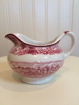 Enoch Woods Pink & White English Scenery Cream/Milk Jug • 2.75£