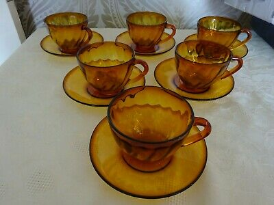 Vintage Retro Arcoroc France Amber Glass Set Of 6 Cups & Saucers • 14.99£