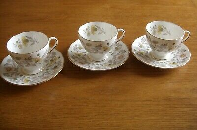 Three Vintage Coalport Bone China Somerset Pattern Coffee Cups And Saucers. • 3.99£