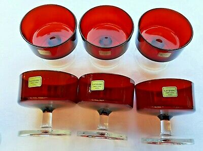 7 Ruby Red Glasses Crystal Luminarc Verrerie D'Arques France.  • 18£