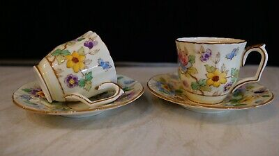 2 X Crown Staffordshire 1930's Hand Painted On Transfer Cup And Saucers. • 5£