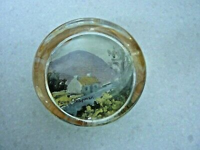 Vintage Ruby Chapman Irish Cottage Painting Signed Glass Paperweight • 12.99£