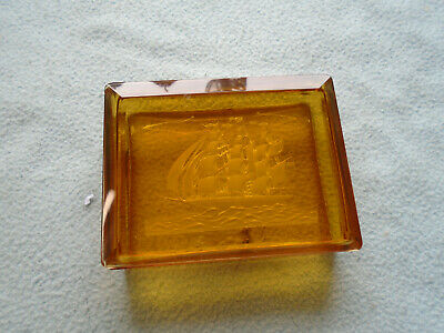 Antique Ship Cut Glass Amber Glass Jewelry Trinket Box • 20£
