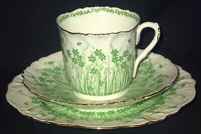 Foley Wileman GRASS PRINT Foley Shape Cup, Saucer And Side Plate- Pattern 9806 • 29£