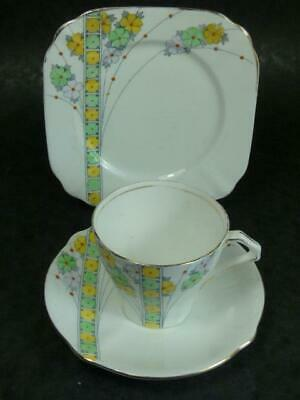 Vintage -bell China- Yellow Flowers - Art Deco-tea Trio • 3.99£