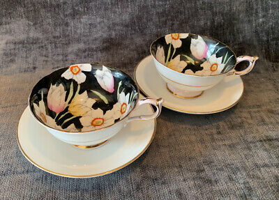 2 Vintage Paragon Floral Cups By Appointment Queen Mary 1930's Mismatch Saucers. • 139.95£