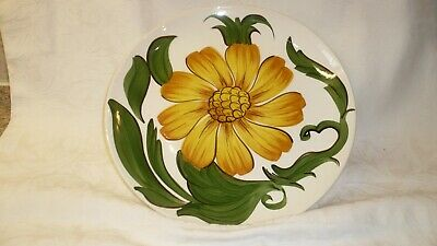 Vintage Wade England, Green And Yellow Sunflower Plate, Bold Lines • 4£