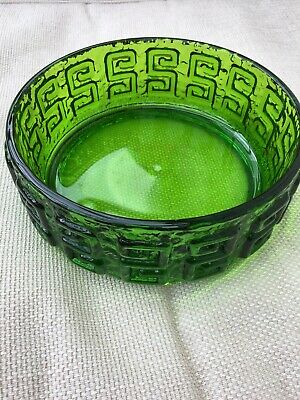 Green Glass 60s 70s Riihmaki Greek Key Designed By Tamara Aladdin • 25£