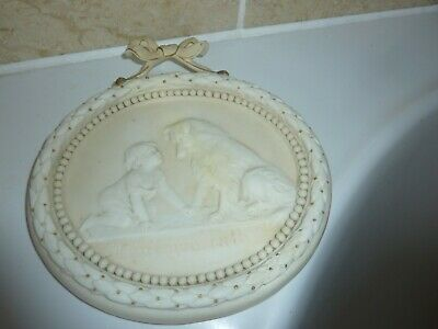Goss Parian 17.7cm Oval Wall Plaque With Bow -can't You Talk'- Child & Dog Image • 85£