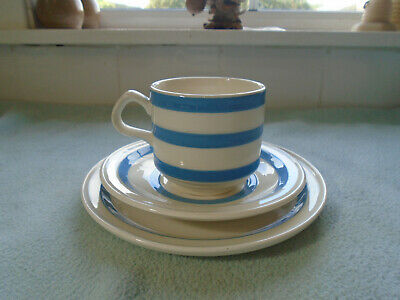Vintage Irish Carrigaline Trio Blue Banded Cup Saucer & Plate • 20£