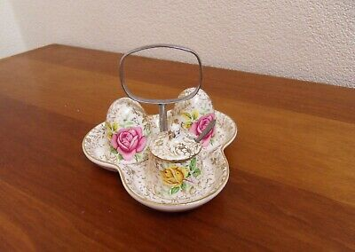 Vintage Midwinter Gold Chintz / Yellow & Pink Roses Condiment Set  • 12£