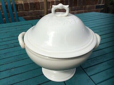 Antique French LUNEVILLE LIDDED SOUP TUREEN * Opaque Design * White Ironstone   • 49£