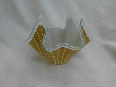 RETRO CHANCE GLASS HANDKERCHIEF BOWL VASE In MUSTARD YELLOW ~ EXCELLENT • 12.99£