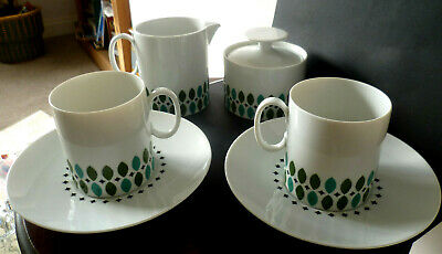 Rare Vintage MCM Thomas Germany China Abstract Oval Leaf Pattern Tea For Two Set • 26.95£