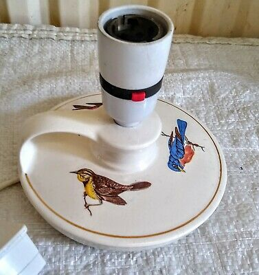 Vintage Holkham Pottery Wee Willie Winkie Table Lamp Birds Working • 10£